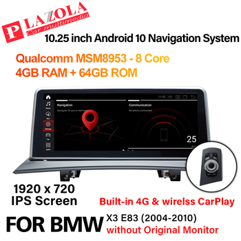 Android 10 Car Multimedia Navigation GPS Player For BMW X3 E83 2004-2010 without Original Monitor CarPlay Autostereo 10.25 inch image