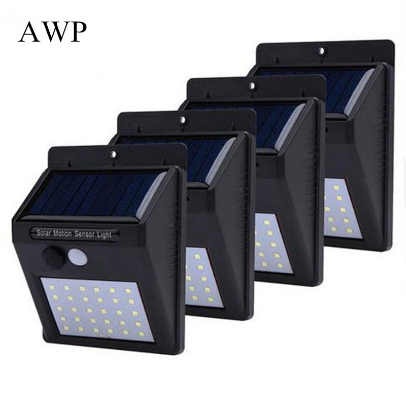 30 LEDs Solar Light PIR Motion Sensor Outdoor Solar Lamp Wall Light Waterproof Solar Powered Sunlight For Garden Decoration AWP