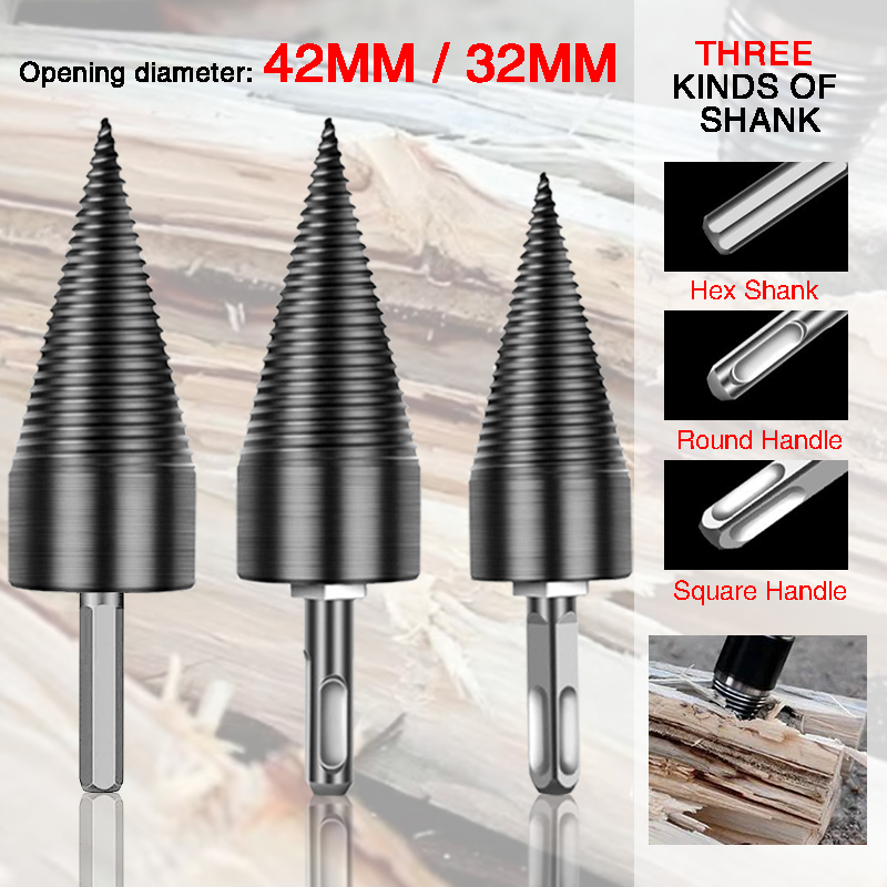 Split Wood Cone-drilling Tool Firewood Machine Drill Wood Cone Reamer Punch Driver Drill Bit Split Drilling Tools