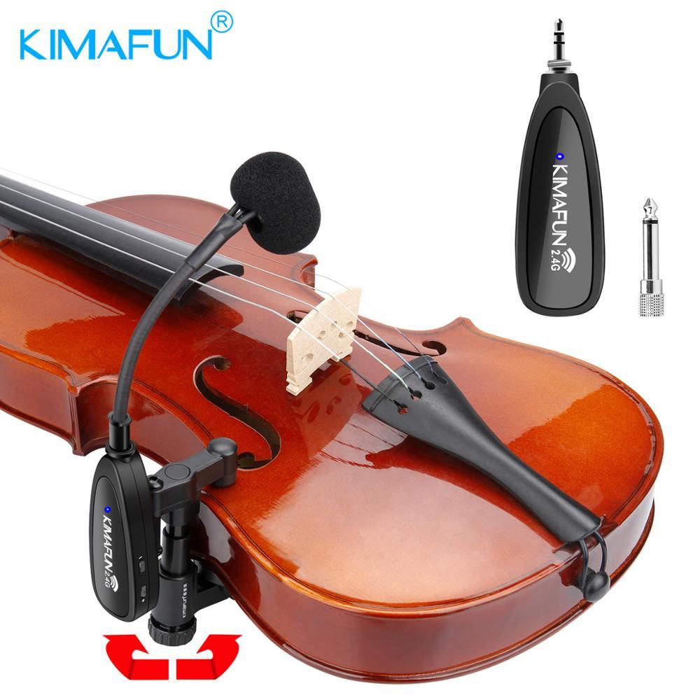 KIMAFUN violon microphone 2.4G Instrument sans fil col de cygne Microphone professionnel Musical condensateur Microphone pour violon