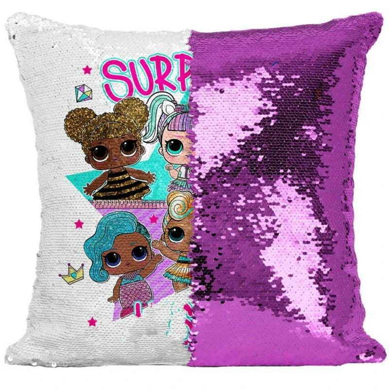 40 40cm lol surprise lol doll new pillow case two color sequins cartoon pillow case lol animation surprise doll cushion cover