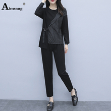 Aimsnug Office Lady Elegant Leisure Women Sets Slim Fit Striped Print Fitted Top And long pants Set Long Sleeve 2 Piece