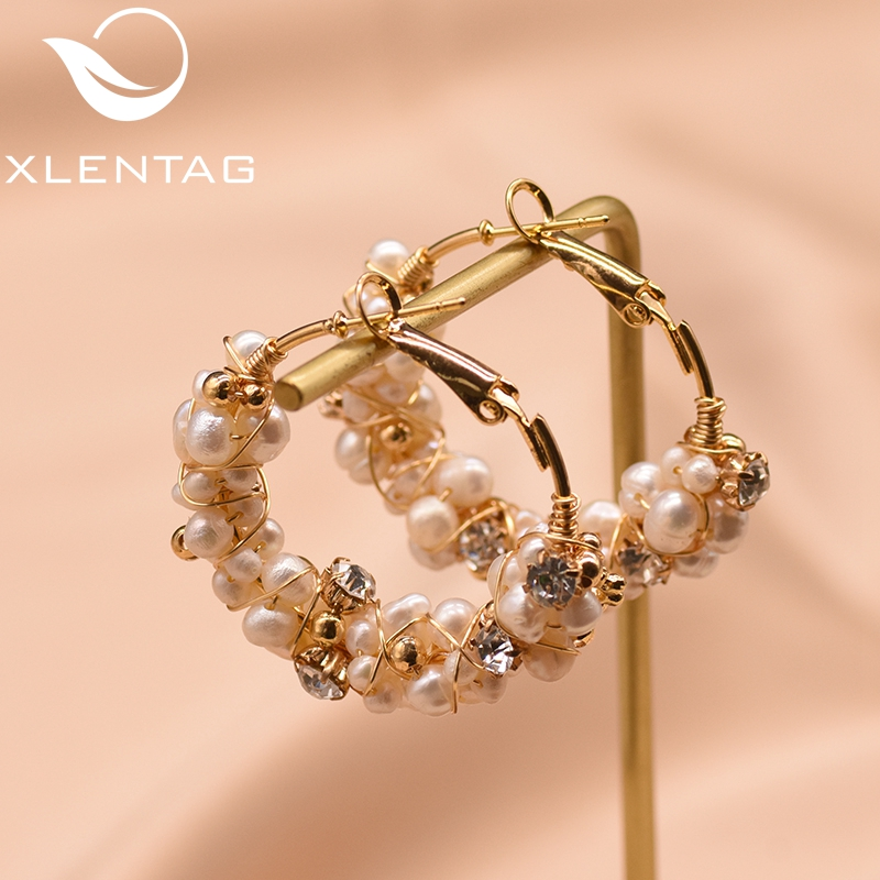 XlentAg 100% Natural Fresh Water Pearl Hoop Earrings For Women Wedding Engagement Handmade Fine Jewelry Aros Mujer Oreja GE0870D