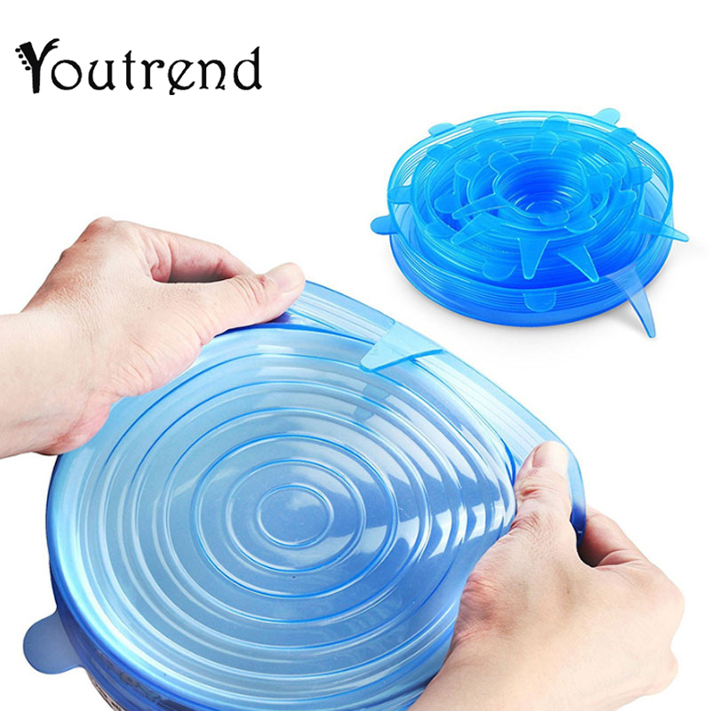 6 Pcs/Set Reusable Silicone Siliconcover Food Saran Wrap Stretch Vacuum Seal Cover Kitchen Organization Fresh Keeping Sealed Lid