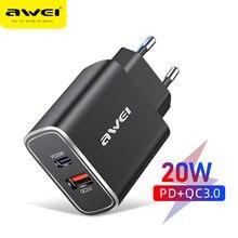 """Awei פ""""ד 20W USB סוג C מטען האיחוד האירופי מתאם מהיר טלפון תשלום עבור iPhone 12 11 X Xs Xr 7 AirPods iPad Huawei Xiaomi LG סמסונג"""