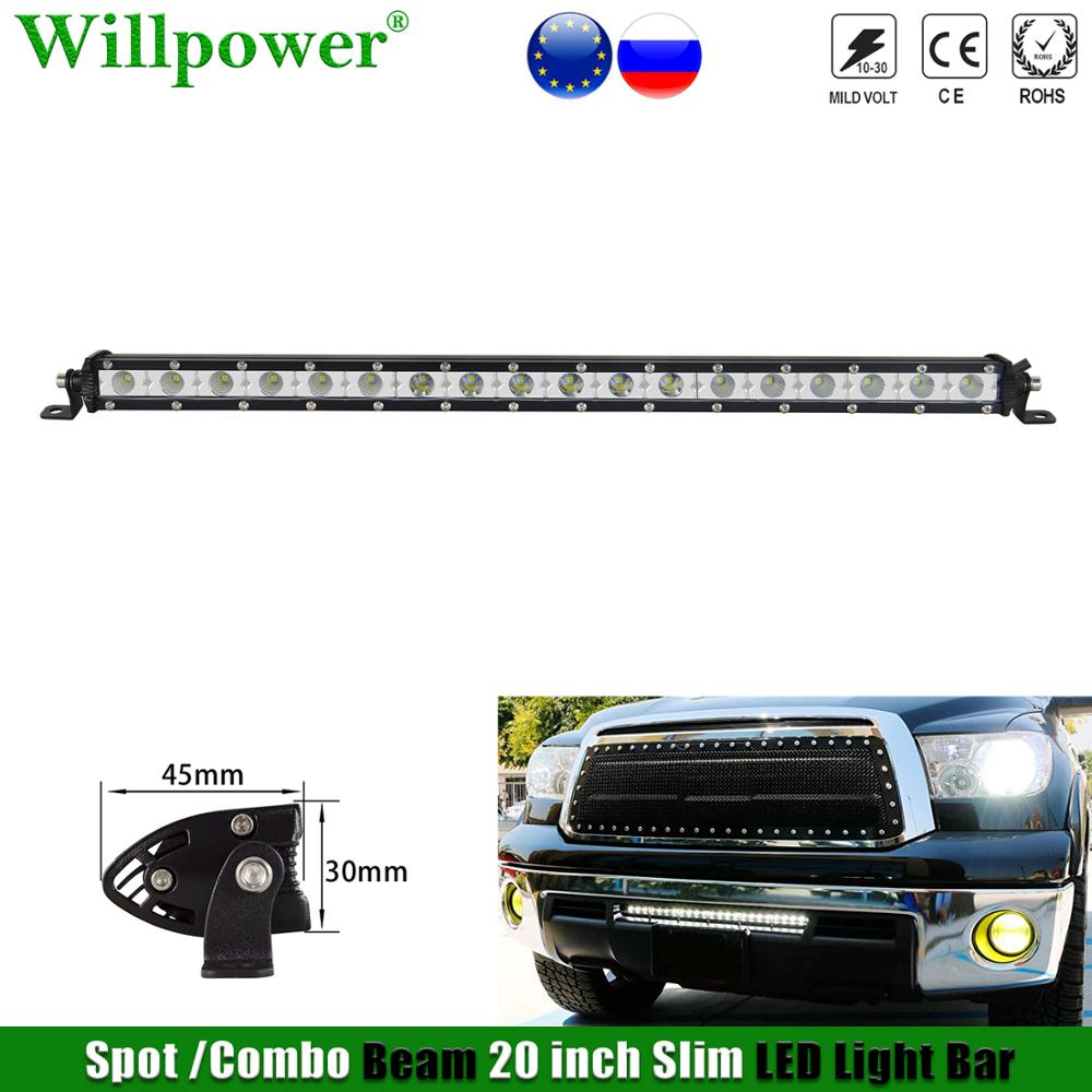 "Off Road 4X4 Truck Single Row 20"" Slim Light Bar For Jeep JK 4WD Car Hood LED Fog Light Bar Spotlight Combo Driving Lamp"