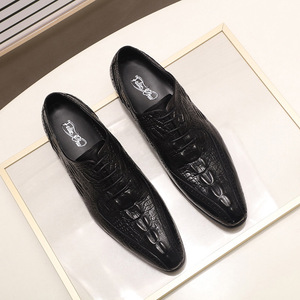 Image 5 - Fashion Mens Oxford Shoes Genuine Leather Classic Crocodile Alligator Print Pointed Toe Lace Up Dress Shoes for Men