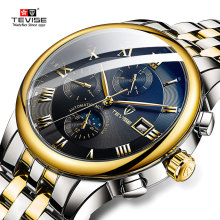 Top Brand TEVISE Mens Watches Men Self Wind Automatic Mechanical Watch Stainless steel Business  Military Clock carvinal mens business tritium luminous waterproof steel watchband automatic self wind mechanical watch gold bezel black dial