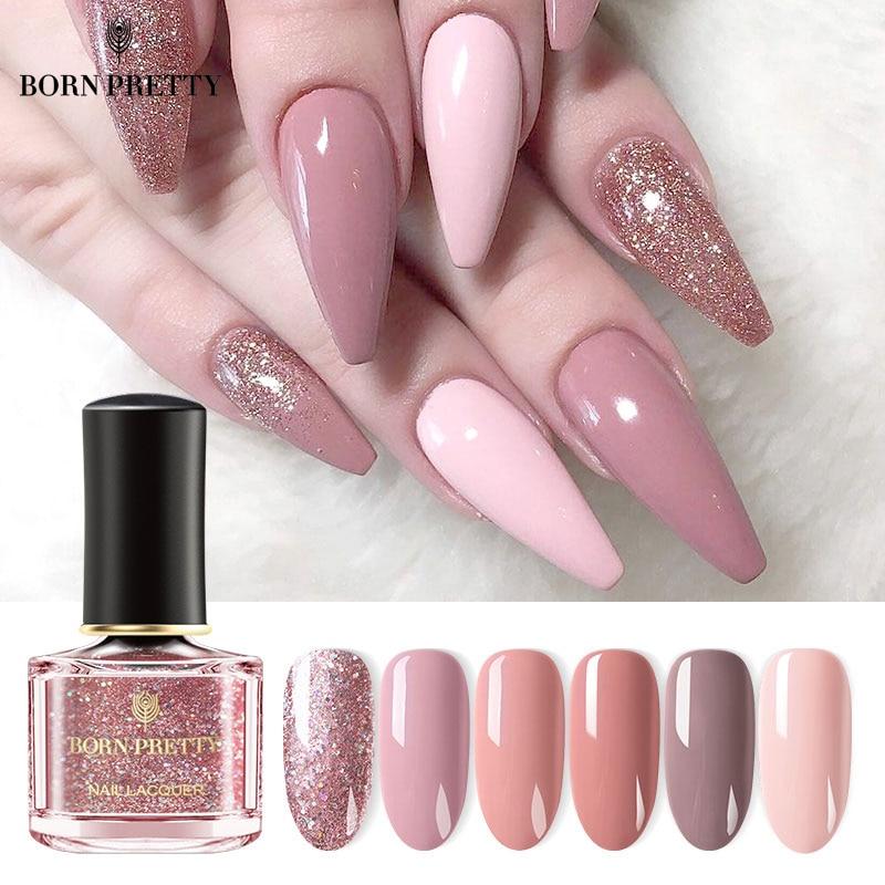 BORN PRETTY Nail Polish 73 Colors Black White Pink Rose Gold Nail Art Polish  Nail Color Nail Varnish Sequins Nagellack 6ml