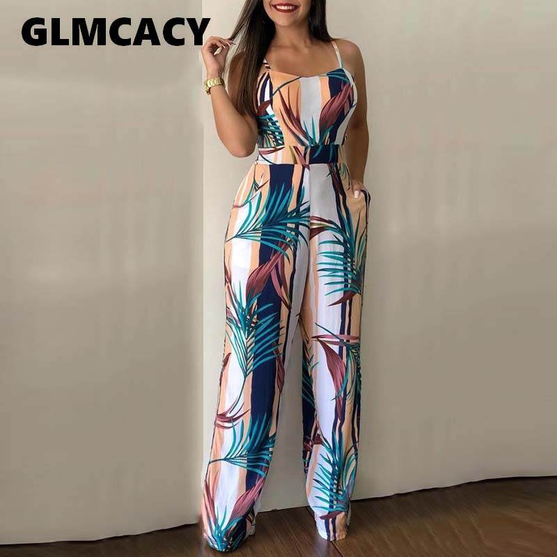Women Leaf Print spaghetti strap Sexy Jumpsuit Boho Rompers Jumpsuit Elegant Summer casual Jumpsuits