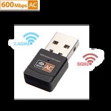 Usb wifi adaptador 2.4ghz 5ghz 600mbps wifi antena banda dupla 802.11b/n/g/ac mini receptor de placa de rede do computador sem fio