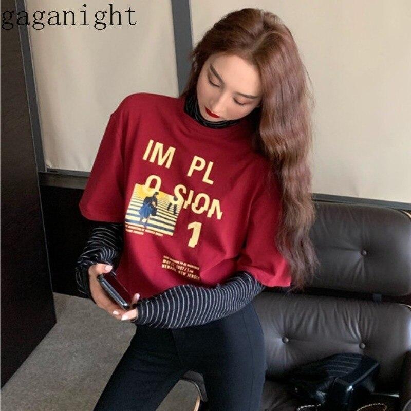 Gaganight с буквенным принтом Лоскутная Женская футболка весна осень Повседневная Свободная Женская футболка корейская мода футболки полоса в...