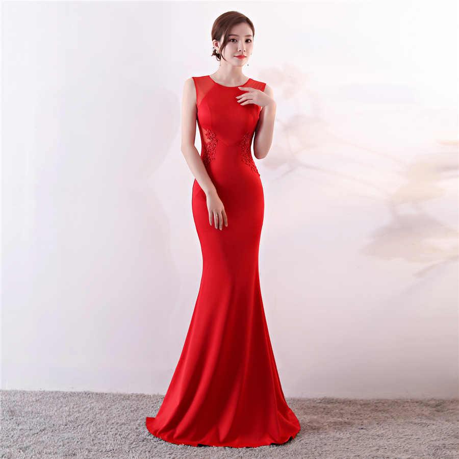 シンプルなマーメイドイブニングドレスエレガントなアップリケ女性パーティードレスプラスサイズローブ · ド · 夜会 DX303-1 2020 レッドロングウェディングドレス