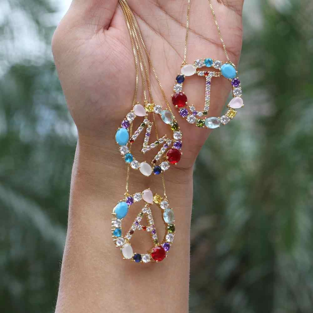 ZYZ336-7703 Rainbow Color Crystal Zircon Letter Alphabet Pendant Initial Letter CZ Stone Women Jewelry Pendant 5PCS