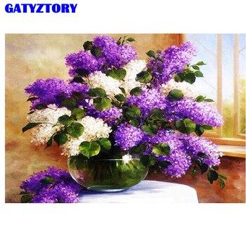 Cuadro de pintura de flores gatyztory por números para adultos DIY pintura acrílica para colorear por lienzo con números lavanda hogar