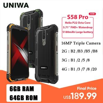 Купить DOOGEE S58 Pro IP68/IP69K водонепроницаемый прочный телефон 6 ГБ + 64 ГБ Android 10 Мобильный телефон NFC Смартфон 5180 мАч 5,71 дюймFHD + дисплей