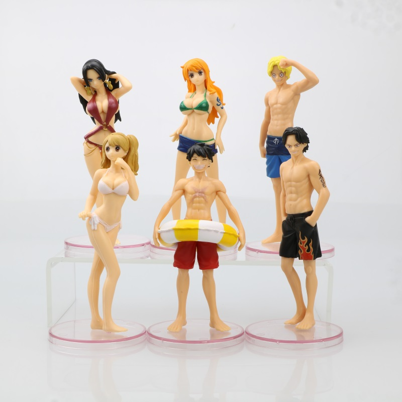 6pcs Sexy Swimsuit Anime Cartoon Doll <font><b>One</b></font> <font><b>Piece</b></font> <font><b>Luffy</b></font> Zoro Tony Chopper Action Figure Set PVC Collection Model Mini Teenager Toy image