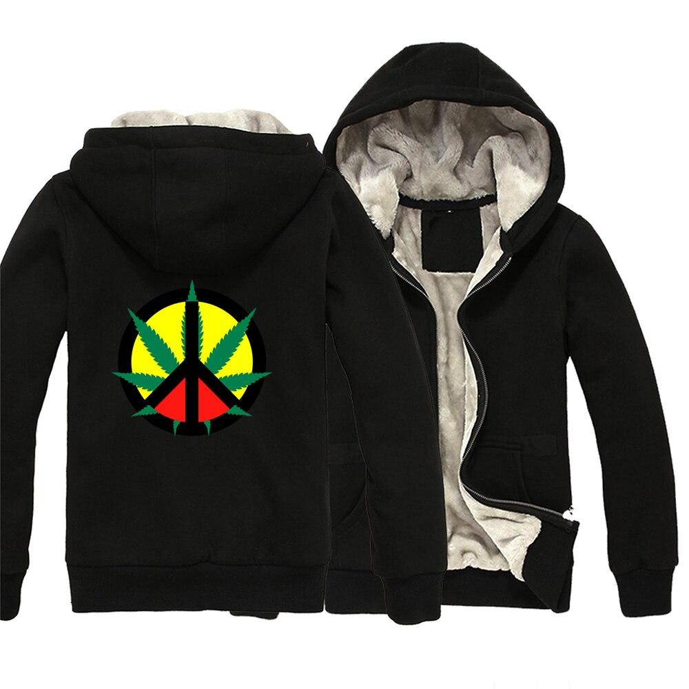 Hemp Peace Sign Jamaica Reggae Regge Rasta Leaf Red Yellow Green Man Boy Parkas Full Zip Coat Plus Velvet Autumn  ZIIART