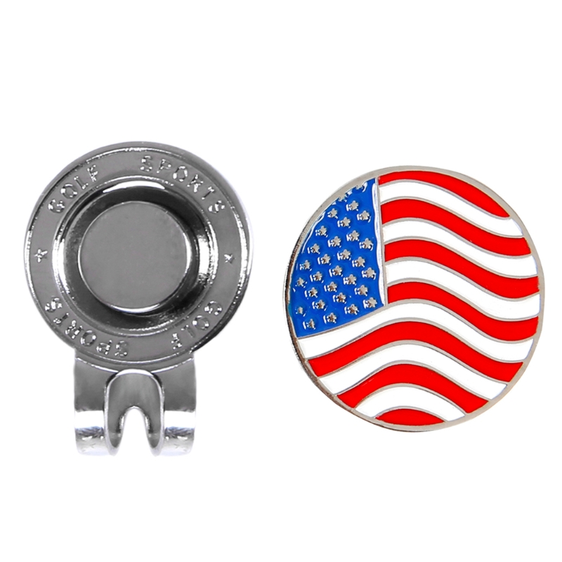 Personalized American Flag Golf Ball Marker W/ Magnetic Hat Cap Clip Accessories D0LB