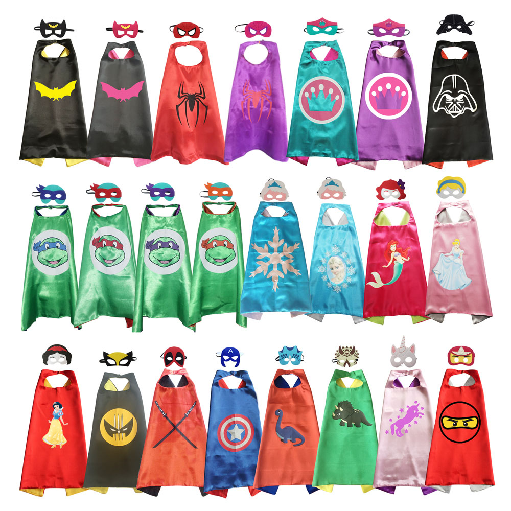 Superhero Capes With Mask Boys Girls Birthday Party Favor Dress Up Halloween Costumes Anime Cosplay