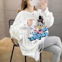 pregnancy  for pregnant women Hoodies For pregnant women Autumn and winter fake two-piece tops Donald Duck T-shirt suit loose