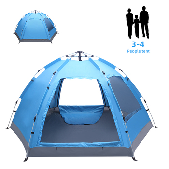 3-4 Person Automatic Family Tent Instant Pop Up Waterproof for Camping Hiking Travel Outdoor Activities 2 8 people fully automatic camping tent windproof waterproof automatic pop up tent family outdoor instant setup tent 4 season