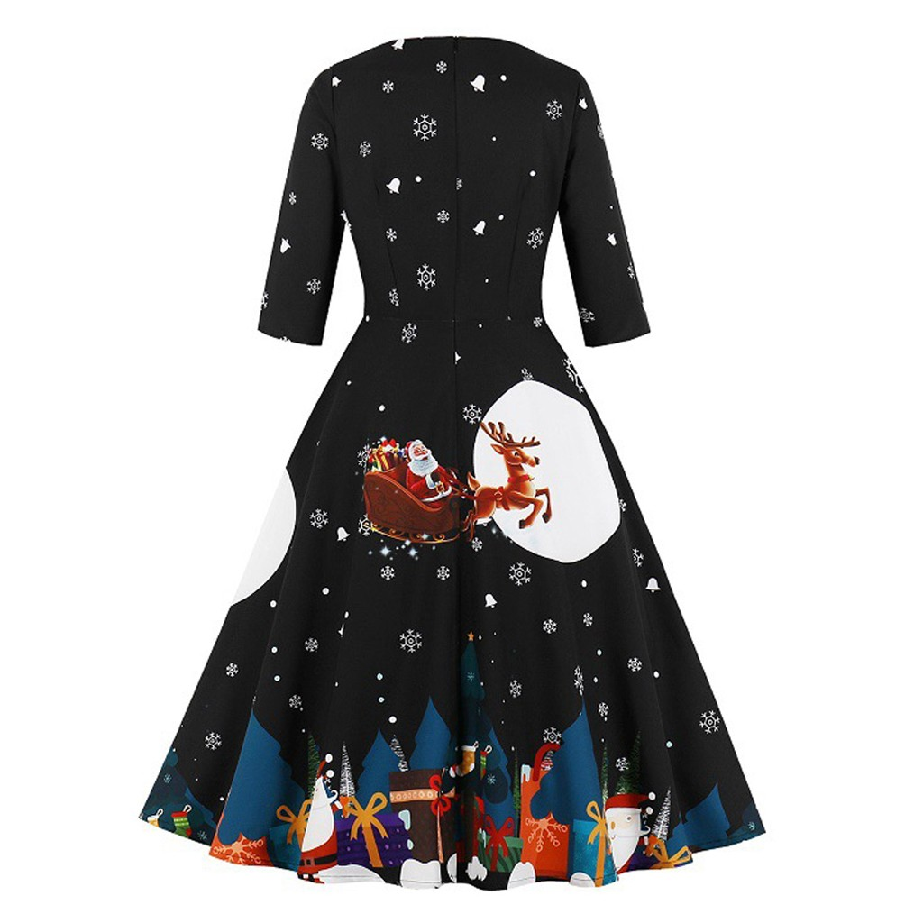 Christmas Print Women Dress Vintage Elegant Hepburn O-Neck Zipper Pocket Half Sleeve Party Dress robe hiver femme roupa feminina