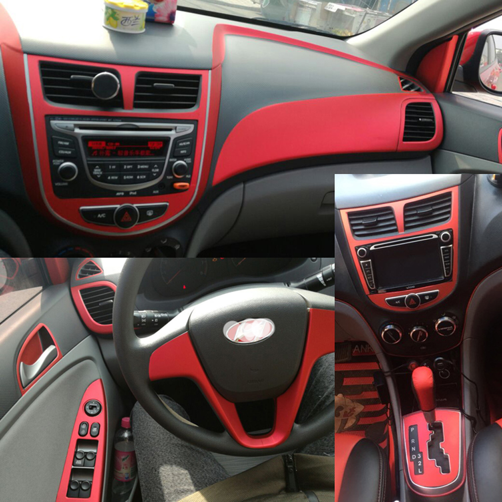 For Hyundai VERNA 2010-2016 Interior Central Control Panel Door Handle 5D Carbon Fiber Stickers Decals Car Styling Accessorie