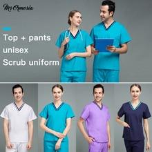 Fashion High-quality Unisex Polyester-cotton Medical Accessories Beauty Salon V-neck Scrub Uniform Female Nurse Accessories