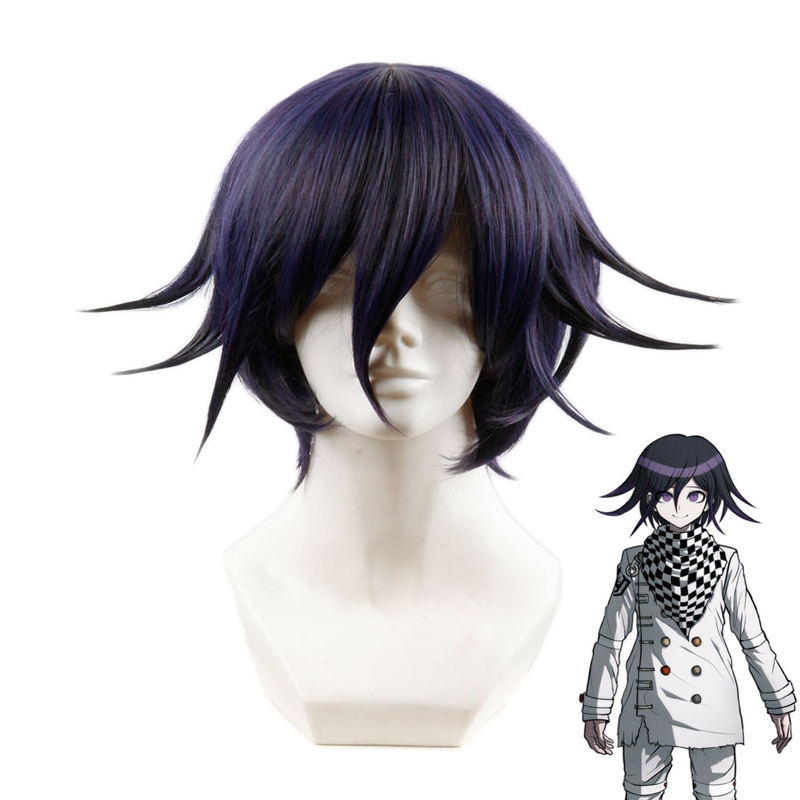 Anime Danganronpa V3 Killing Harmony Ouma Kokichi Short Wig Cosplay Costume Dangan Ronpa Heat Resistant Synthetic Hair Men Wigs