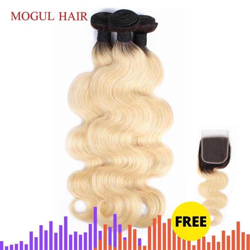 MOGUL HAIR T 1B 613 Dark Root Platinum Blonde Bundles With Free Closure Brazilian Body Wave Hair Weave Remy Human Hair Extension