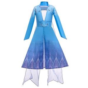 Платье принцессы Эльзы для девочек; Детский костюм с цветочным рисунком; комплект из 2 предметов «Снежная королева»; вечерние платья Эльзы н...
