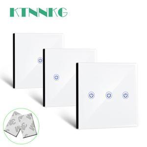 Image 1 - KTNNKG 86 벽 터치 원격 제어 무선 RF 송신기 강화 유리 패널 + 램프 빛에 대 한 LED 433MHz EV1527 칩