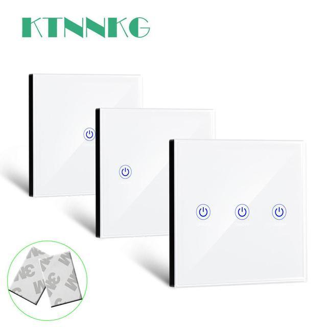 KTNNKG 86 벽 터치 원격 제어 무선 RF 송신기 강화 유리 패널 + 램프 빛에 대 한 LED 433MHz EV1527 칩