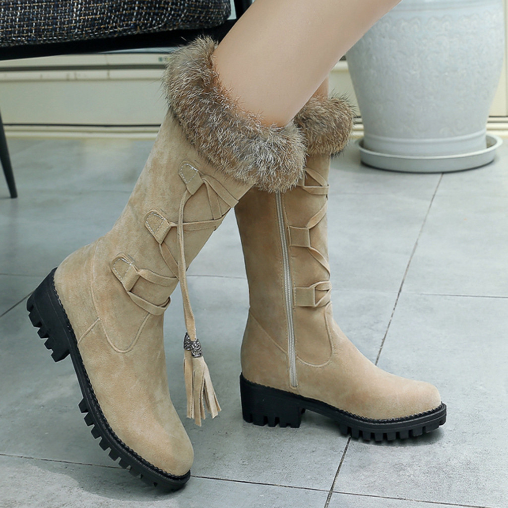 Suede Plus velvet Winter Boots Women Knee High Long Boots Fashion short plush Snow Boots Women Winter Warm Platform woman shoes 56