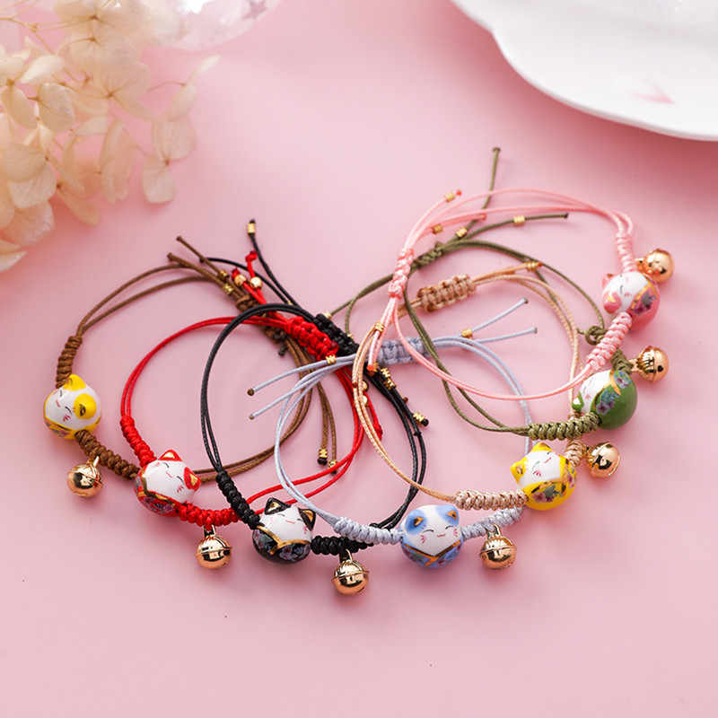 DoreenBeads New Simple Hand-knitted Kawaii Ceramic Cat Charm Rope Bracelets Tassel Beads For Women Japanese Style Jewelry,1 PC