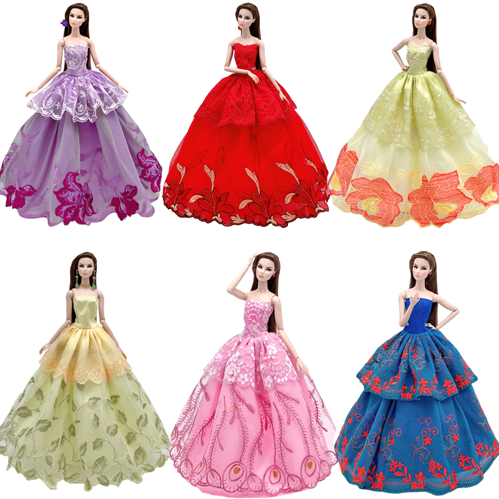 NK One Pcs Doll Princess Wedding Dress Noble Party Gown For Barbie Doll Accessories Handmake Outfit Best Gift For Girl' Doll JJ