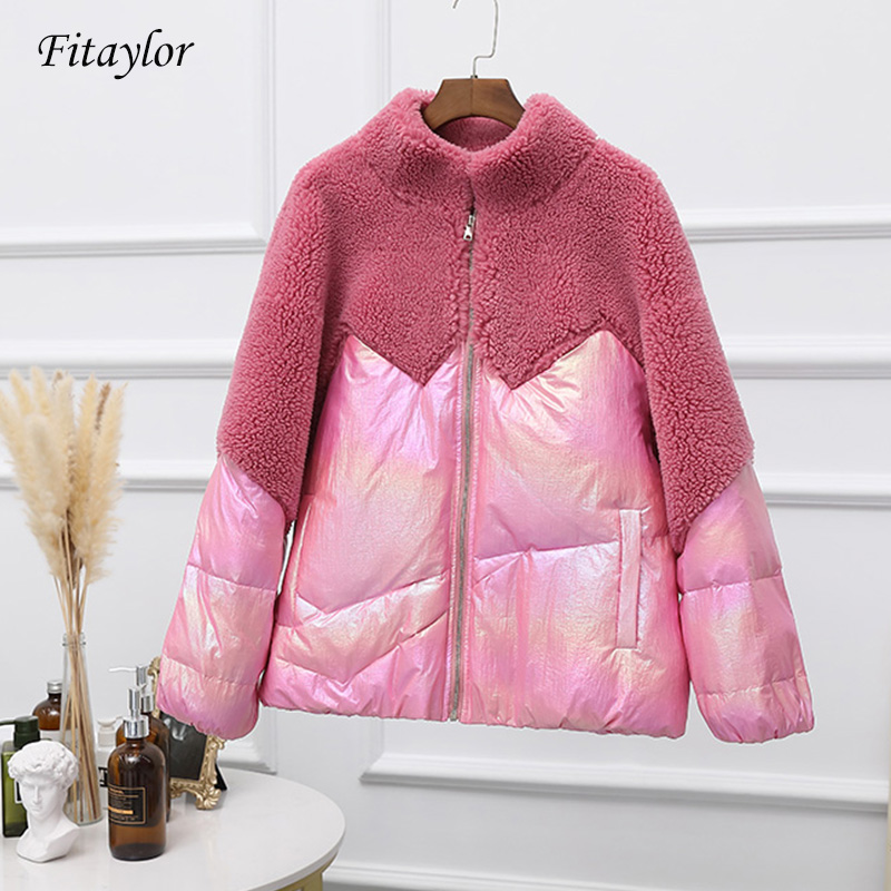 Fitaylor 2019 Winter Duck Down Jacket Women Turtleneck Collar Down Parkas Female Thicken Warm Glossy Short Coat Snow Outwear