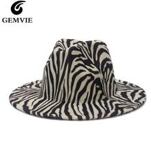 Fedora Hat Women/men Felt-Hat Jazz-Cap Brim Wool Panama-Style Zebra Big GEMVIE for Gamble