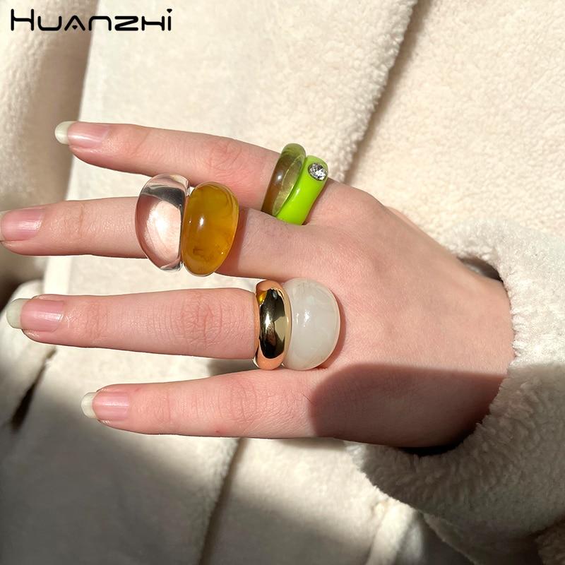HUANZHI 2021 новая одежда для маленькой девочки 2 шт./компл. минималистский Цвет Фул прозрачный Смола геометрический золотистый Цвет металлическ...