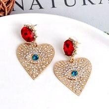 Atacado jujia boêmio moda retro brincos de olho de ouro feminino charme festa de casamento jóias amor coração balançar brincos