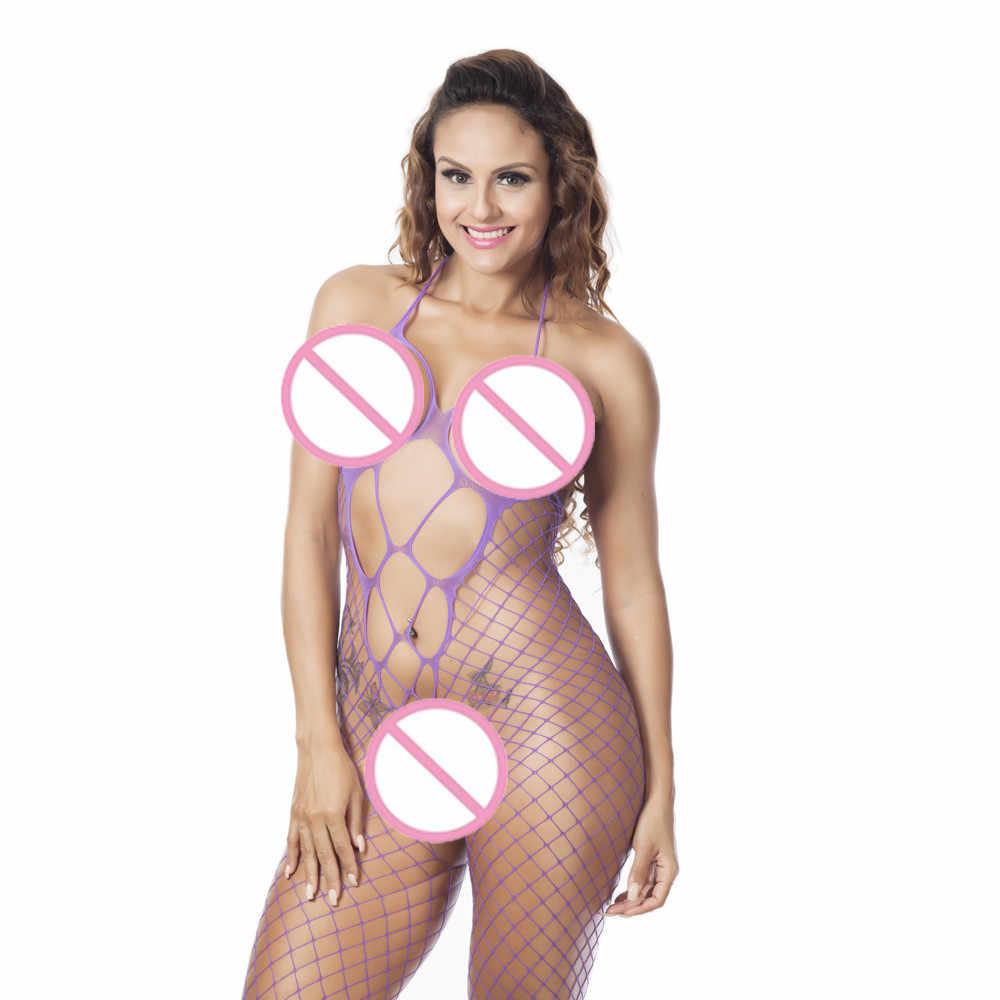 ถุงน่องเซ็กซี่เซ็กซี่ผู้หญิง Fishnet เปิด Crotch Body STOCKING Bodysuit