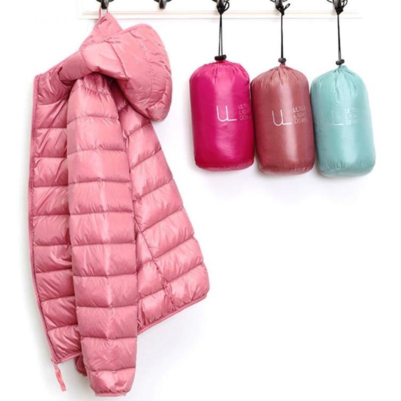 Зимний женский сверхлегкий тонкий пуховик, 90% белый утиный пух, куртки с капюшоном, теплое пальто с длинным рукавом, парка для женщин, портат...