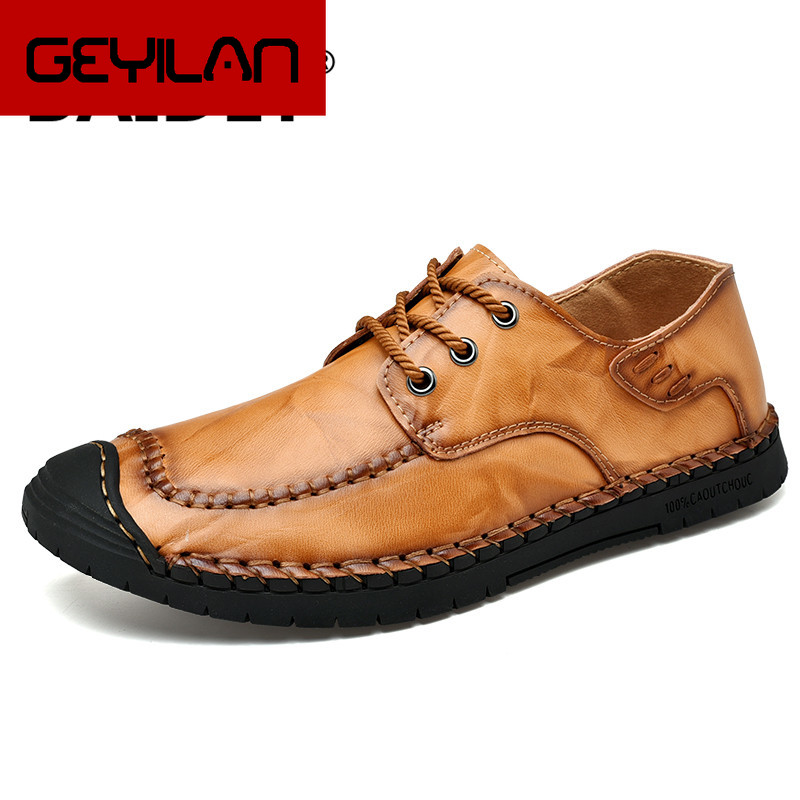 Men Casual Shoes Luxury Brand Genuine Leather Mens Loafers Moccasins Comfy Breathable Slip on Driving Shoes Plus Size