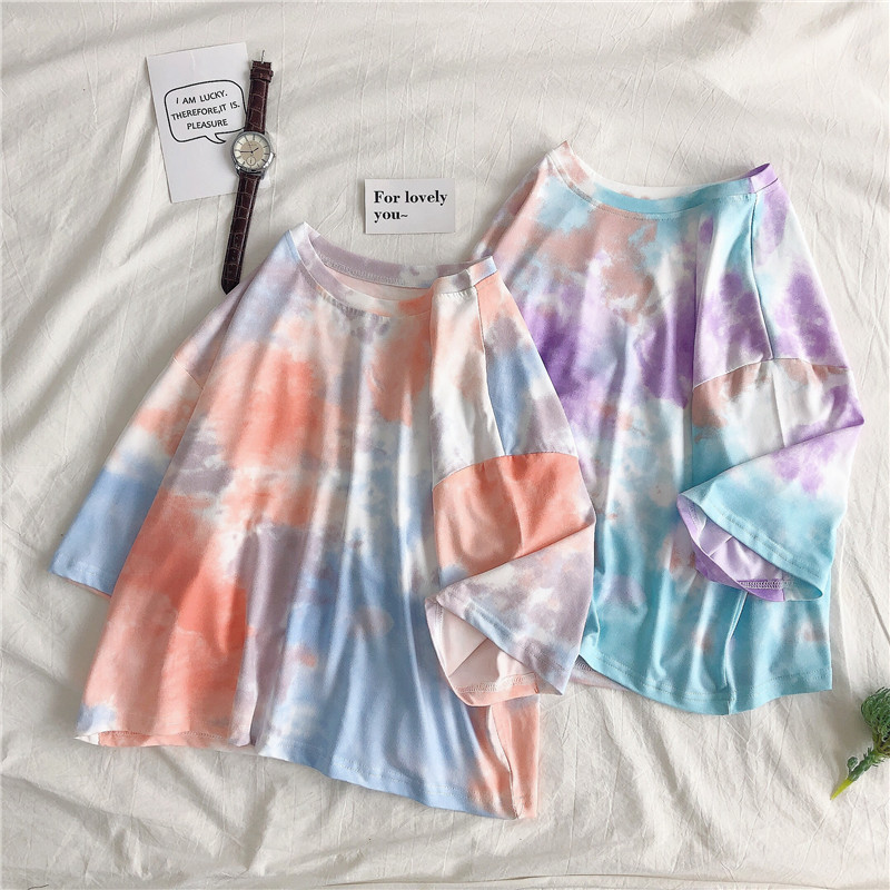 Summer Korean Version Loose Tie-Dye Short-Sleeved T-shirt Female Students Harajuku T-shirt Ins  Polyester Casual O-Neck Funny