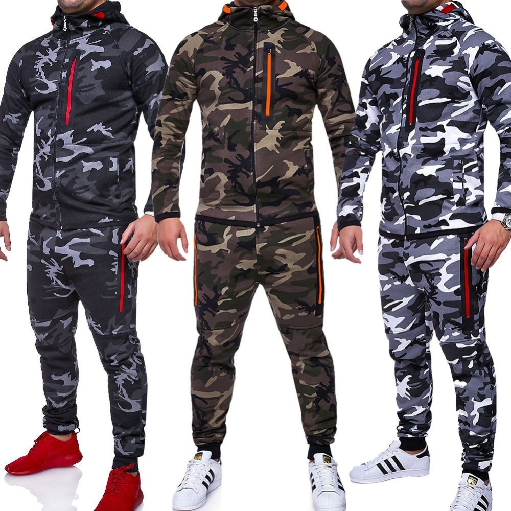 ZOGAA Men Sets Track Suit 2019 Camouflage Jacket Camo Print Tracksuit Matching Sportswear Hoodie Coat Pants Sweatsuit Military