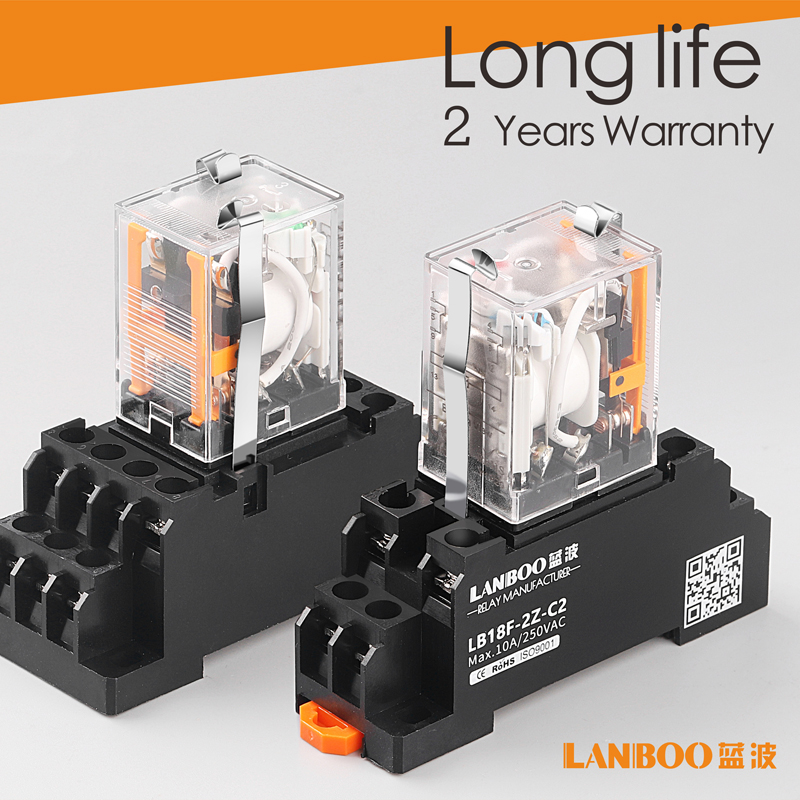 LANBOO HH52P MY2NJ Relay Coil General DPDT Micro Mini Electromagnetic Relay Switch with Socket Base LED AC 220V DC 12V