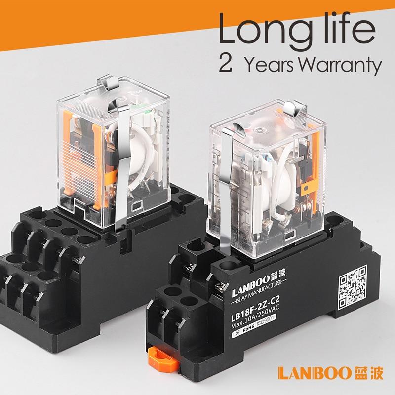 Электромагнитное реле LANBOO HH52P MY2NJ, светодиодный мини-переключатель DPDT для электромагнитного реле с цоколь переменного тока 220 В постоянного ...