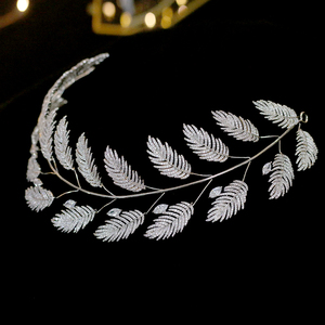 Image 3 - Luxury Zircon Bridal Jewelry Wedding Hair Accessories Leaf Hair Band Hair Band Charm Crown Party Jewelry