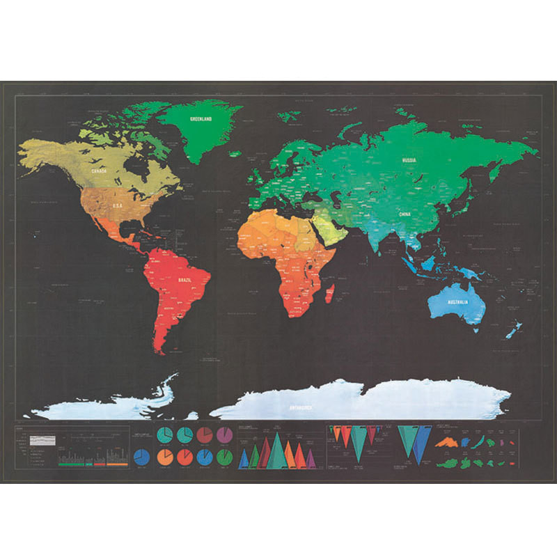 HAPPYVIEW 82.5 X 59.4cm Black Scratch Off World Map Black Map Scratch Best Decor School Office Stationery Supplies Wall Stickers